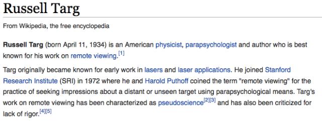 Wikipediaguerillans sabotage av Rusesel Targ artikel